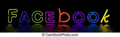 sociale, neon, rete, segno