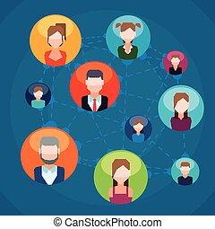 sociale, netværk, design.