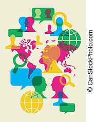sociale, netværk, kommunikation, symboler
