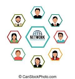 sociale, netværk, vektor, illustration., konstruktion
