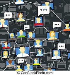 sociale, parlare, rete globale, persone