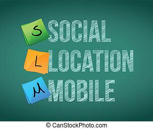 sociale, posizione, mobile, illustrazione, disegno