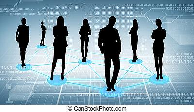 sociale, rete, affari, o