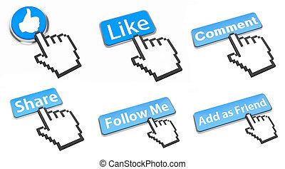 sociale, rete, bottone