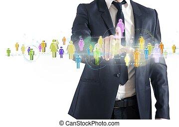 sociale, rete, collegamento