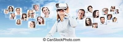 sociale, rete, e, globale, contatto, concept., donna, il portare, realtà virtuale, occhiali protezione, headset., vr, glasses., 360, degrees.