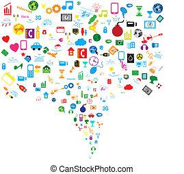sociale, rete, fondo, icone
