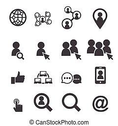 sociale, rete, icona