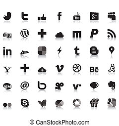 sociale, rete, icone
