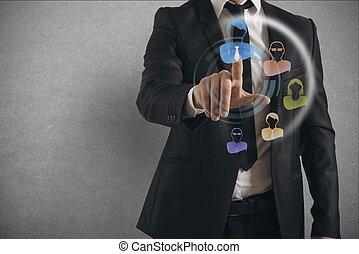 sociale, rete, interfaccia