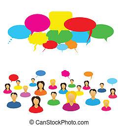 sociale, rete, persone
