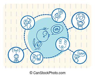 sociale, rete, uccello