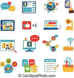 sociale, sæt, netværk, iconerne