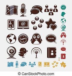 sociale, set, icone