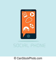 sociale, telefono, concetto, disegno, appartamento