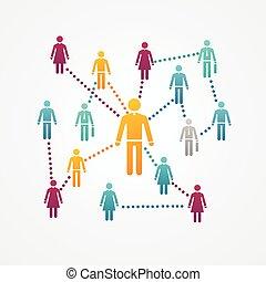sociale, vettore, silhouette, rete, icone