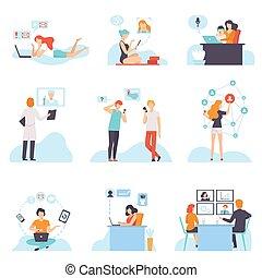 sociale, via, networking, discutere, comunicare, persone, set, acquisto, giovane, illustrazione, scrittura, mobile, congegni, vettore, riunione, uomini, internet, email, ciarlare, donne