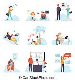 sociale, via, networking, persone, set, comunicare, ricerca, illustrazione, giovane, mobile, ciarlare, vettore, congegni, uomini, internet, email, scrittura, datazione, informazioni, donne