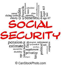 sociale voorzieningen, woord, wolk, concept, in, rood, &,...