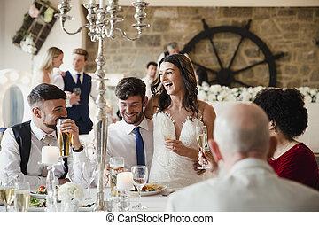 socialising, loro, ospiti, giorno, matrimonio