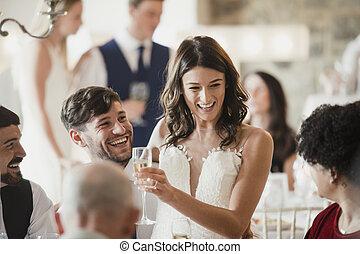 socialising, nostro, giorno, matrimonio