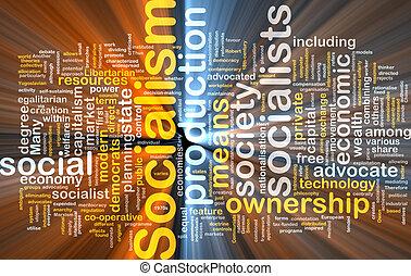 Socialism word cloud glowing - Word cloud concept...