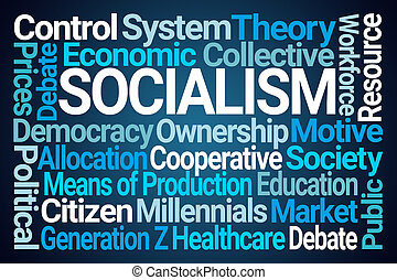Socialism Word Cloud on Blue Background