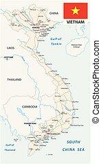 Socialist Republic of Vietnam road vector map with flag