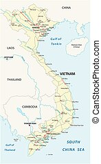 Socialist Republic of Vietnam road vector map