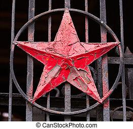 socialista, estrella, rojo