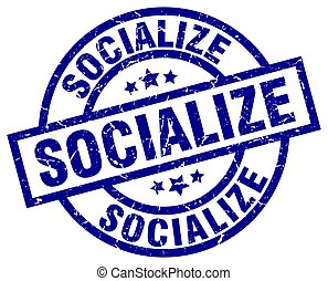 socialize blue round grunge stamp