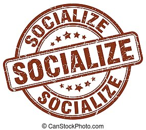 socialize brown grunge stamp