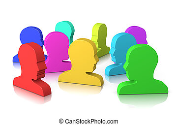 Socialize - Group of Colorful Head Profile on White...