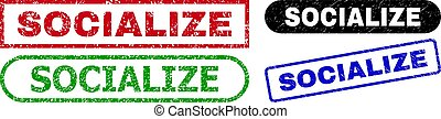 SOCIALIZE grunge seal stamps. Flat vector distress seal stamps with SOCIALIZE caption inside different rectangle and rounded frames, in blue, red, green, black color versions.
