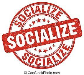 socialize red grunge stamp
