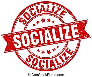 socialize round grunge ribbon stamp