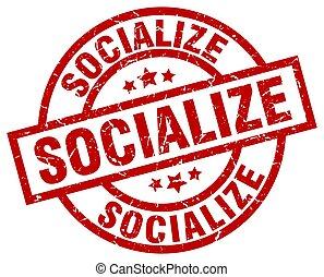 socialize round red grunge stamp