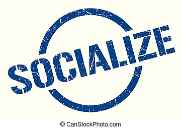 socialize blue round stamp