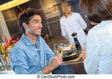 socializing in the restaurant