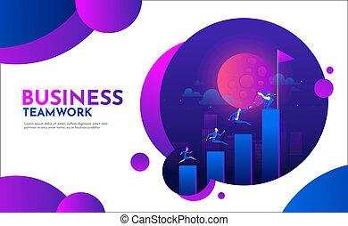 sociedad, plano, trabajo, empresarios, carrera, gráfico, escalera, escaleras., arriba, ilustración, characters., vector, liderazgo, equipo, montañismo, concept.