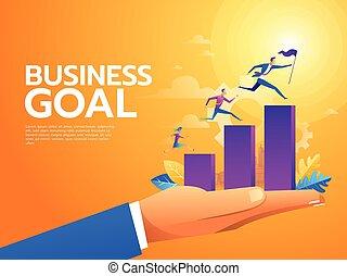 sociedad, plano, trabajo, illustration., empresarios, escalera carrera, escaleras., arriba, characters., vector, liderazgo, equipo, montañismo, concept.
