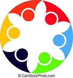 sociedade, conceito, pessoas negócio, treinamento, abstratos, equipe, trabalho equipe, vetorial, desenho, cooperation., logotipo, organização, desporto, template.