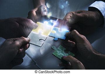 sociedade, conceito, trabalhando, startup., puzzle., junto, integração, trabalho equipe, construir, homens negócios