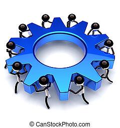 sociedade, engrenagem, negócio, cogwheel, process., trabalho equipe, roda
