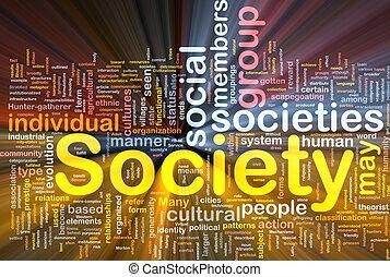 sociedade, glowing, conceito, fundo
