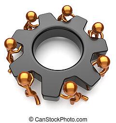 sociedade, negócio, processo, homens, gearwheel, trabalho equipe, equipe