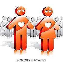 sociedade, par, amando