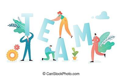 sociedade, workers., trabalhando, pessoas negócio, comunicação, concept., process., ilustração, projeto, vetorial, trabalho equipe, caráteres, junto, equipe, escritório