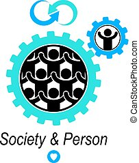 Society and Person interaction creative logo, unique vector symbol created with different icons. System and social Matrix sign. Person and society interacts with each other.
