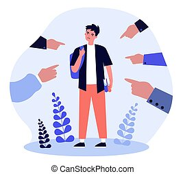 Society blaming upset student. Hands of people pointing at angry guy flat vector illustration. Accusation, anger, judgment concept for banner, website design or landing web page